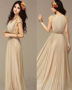 Elegant Bridesmaid Chiffon Lace Ladies Long Evening Party Vintage Maxi Dress 077   eBay