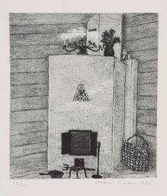 Fireplace - Inari Krohn , 1987 Linocut, x 22 cm. Aix En Provence, Helsinki, Finland, Printmaking, Winter, Abstract, Artwork, Painting, Artists