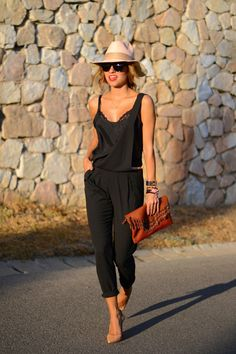 Black overall, nude shoes, hat & leather clutch. - Pinned by www.borabound.com