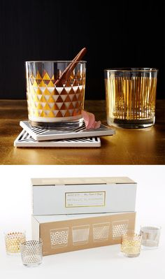 Modern upgrade for the Old Fashioned. Featuring four distinct designs, the Metallic Print Glassware set is sure to catch the eye at your next get-together.