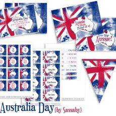 Australia Day editable and printable party invitations and decorations Flag Template, Circle Template, Motto, Australian Party, Thank You Party, Circle Crafts, Party Co, World Thinking Day, Australia Day