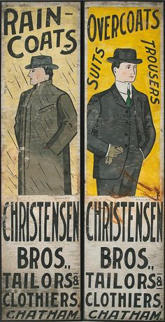 "TWO PAINTED TIN ADVERTISING SIGNS Early 20th Century <br  /> By Ithaca Sign Works, Ithaca, N.Y. Both for ""Christensen Bros., Tailors & Clothiers, Chatham"", with images of men in suits. Height 49"". Width 12"". Framed."
