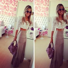 Lace shirt, maxi skirt. IN LOVE with this outfit.