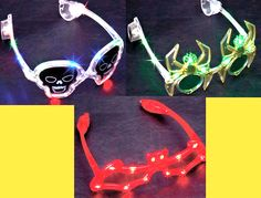 LED glasses Halloween choose from bats, spiders, and skulls colorful #Unbranded