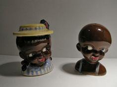 Vintage 1930s Black Americana Black Boy and Black Girl Salt and Pepper Shakers