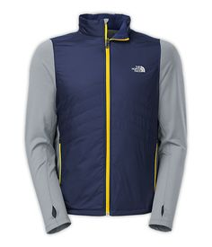 Animgai Jacket. An endurance-#runner favorite for thermal protection in cold conditions, this lightly insulated performance #jacket has a sleek hybrid design that pairs a #windproof core with #breathable stretch-knit sleeves. A knit panel with wicking FlashDry™ fibers runs down the center back for improved breathability and mobility. #run #running