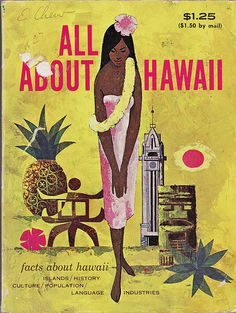 The striking graphics of this cover make it my personal favorite.  The pineapple pictured is actually a representation of the Dole Cannery's water tower, which was painted and trimmed to look like giant pineapple.  Thrum's Hawaiian Almanac & Standard Guide, 1967 Edition.  I found three copies of this digest-sized book at the Kalihi Savers on O'ahu in 2000.  The dates are from 1962, 1967, and 1974.