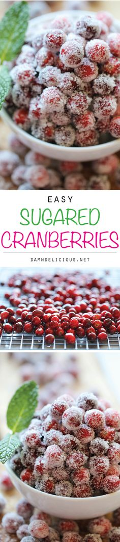 Sugared Cranberries - Incredibly simple and easy 2-ingredient sparkling sugared cranberries – perfect for holiday snacking or dressing up desserts!