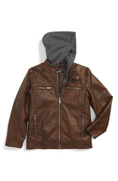 Black Rivet Faux Leather Hooded Jacket (Toddler Boys & Little Boys)