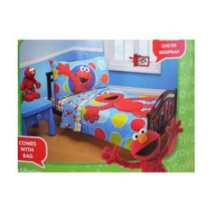 sesame street elmo 4 piece toddler bed set