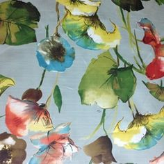 Brookwater+Celadon+Cotton+Floral+Drapery+Fabric+by+Swavelle+Mill+Creek