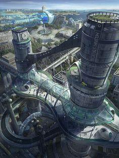 Science-Fiction Future-Fantasy Helsinki Station by Wang Rui Fantasy City, 3d Fantasy, Fantasy Places, Fantasy Landscape, Fantasy World, Futuristic City, Futuristic Technology, Futuristic Architecture, Residential Architecture