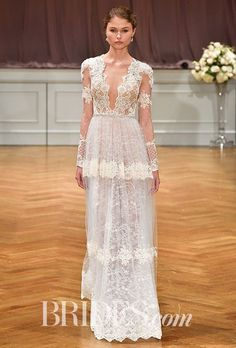 I love the lace on the top part, the illusion effect on the sleeves, and the plunging neckline.