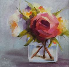 """Perky   Sold   8"""" x 8"""" Oil on Gallery Wrap Canvas   Contemporary Floral Still Life  Thanks to Dutch Art Gallery in Dallas, Texas for se..."""