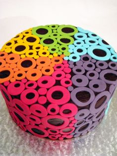 Neon circles and polka dots round cake .... more cool pins at http://www.Pinterest.com/jazevox