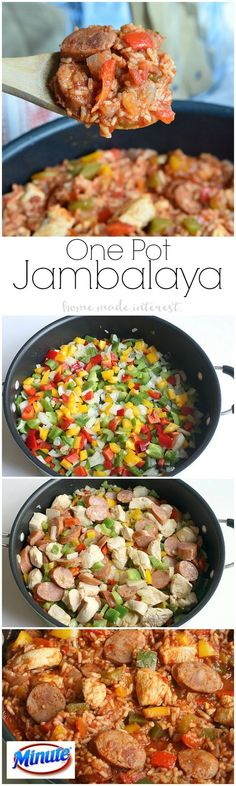 This Jambalaya recipe only takes one pot and 20 minutes! It is an easy weeknight recipe that the family will love. Make with cauliflower rice and ghee for Cajun Recipes, Cooking Recipes, Healthy Recipes, Cajun Food, Crockpot Recipes, Yummy Recipes, Chicken Recipes, Healthy One Pot Meals, Haitian Recipes