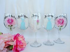 Personalized Bridesmaid Glasses – Hand Painted to replicate YOUR EXACT details of your wedding gown, bridesmaid dresses, tuxes flowers and other details of your wedding  {www.samdesigns.net} , $18 ea
