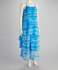 Take a look at this Aqua Tiered Ruffle Plus-Size Maxi Dress by Life and Style Fashions on #zulily today!
