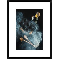 """Global Gallery 'Kitchen Mess: Honey Muffins' by Dina Belenko Framed Photographic Print Size: 24"""" H x 18"""" W x 1.5"""" D"""
