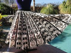 Black and white 1950's Mexican hand-painted circle skirt