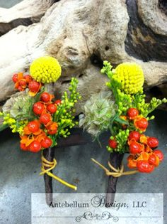 fun fall mix boutonniere made with scabiosa pods, billy balls, and bittersweet by AntebellumDesign.com