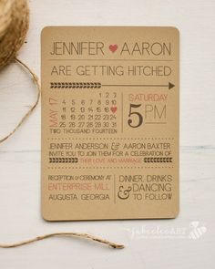 Rustic modern fun printed or printable wedding invitation with calendar style date and customizable colors, kraft paper printable download