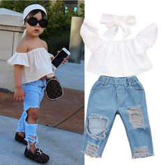 USA Toddler Girls Kids Off Shoulder Tops Denim Pants Jeans 3PCS Outfits Set 1-6T | eBay
