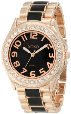Buy New: $19.99: Watches: XOXO Womens XO5473 Rose Gold with Black Epoxy #Analog #Bracelet #Watch