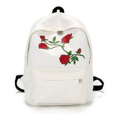 06c430791090 Moon Wood Harajuku Rose Embroidery Backpack White Black Women Travel  Backpack Students Canvas Double Shoulder Bag