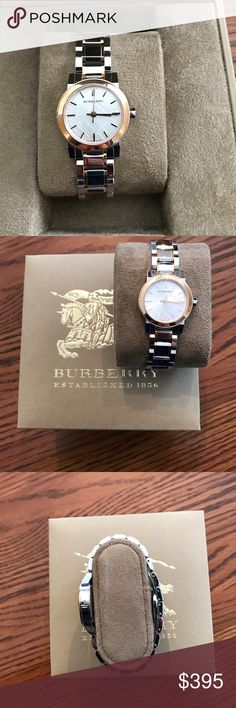 Burberry rose and silver tone watch Beautiful rose and silver tone Burberry watch. Gently used, a few scratches on the band, but not on the face of the watch. Burberry Other