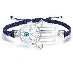 Bling Jewelry Bling Jewelry Sterling Silver Bracelet Shamballa... ($60) ❤ liked on Polyvore featuring jewelry, bracelets, blue, hamsa evil eye jewelry, hamsa hand jewelry, crochet jewelry, engraved bangle and engraved jewelry
