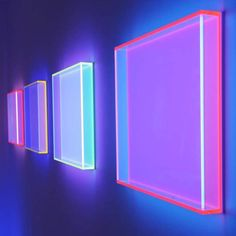 image description: three dimensional neon signs lit up with different colors like pink, blue, and indigo New Retro Wave, Retro Waves, Fred Instagram, Luminaire Design, E Commerce, Purple Aesthetic, Neon Lighting, Light Art, Graphic