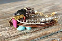 chunky stones & beads bracelet