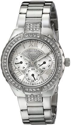 GUESS Women's U0111L1 Sparkling Silver-Tone Hi-Energy Mid-Size Watch ** Read more reviews of the product by visiting the link on the image.