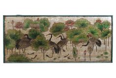 Chinoiserie Chic - Crane Lotus Panel, Silver