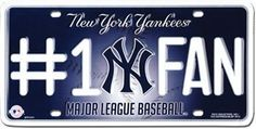 "MLB License Plate - New York Yankees #1 Fan by flagline.com. $5.49. 6"" x 12"" Metal Plate. Officially licensed metal MLB license plate, with pre-drilled mounting holes and the team logo embossed in full color."