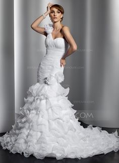 Wedding Dresses - $226.99 - Mermaid One-Shoulder Chapel Train Organza Wedding Dress With Ruffle Flower(s) (002014797) http://jjshouse.com/Mermaid-One-Shoulder-Chapel-Train-Organza-Wedding-Dress-With-Ruffle-Flower-S-002014797-g14797?pos=your_recent_history_6