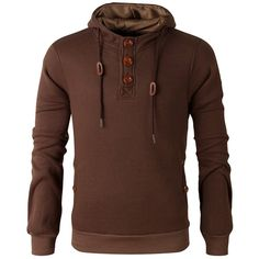 Elbow Patch Long Sleeve Drawstring Pullover Hoodie (34 BAM) ❤ liked on Polyvore featuring men's fashion, men's clothing, men's hoodies, mens hoodies and mens sweatshirts and hoodies