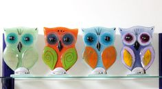Love these cute fused glass owls! #TheCreativeCottage