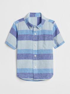 04b197eb2f4 Gap Baby Stripe Short Sleeve Button-Down Shirt Soft Cornflower Toddler Boy  Fashion