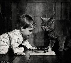 En fotos: ¡Que tierno! Hermosas imágenes describen la amistad entre una niña y su gato.