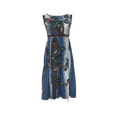 Antonio Marras     Sleeveless Denim Patchwork Dress ($3,140) ❤ liked on Polyvore featuring dresses, empire waist dresses, boat neck dress, sleeveless boatneck dress, sleeveless denim dress and patchwork dresses