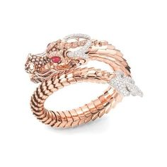 bracelet-dragon-roberto-coin-or-rose-piece-unique-joaillerie ❤ liked on Polyvore featuring jewelry, bracelets, rose bangle, rose jewellery, ruby jewellery, diamante jewellery and ruby jewelry