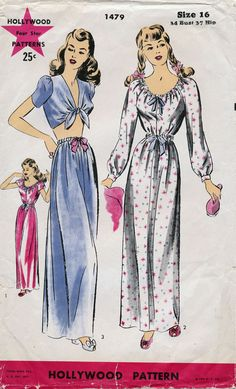 Vintage Hollywood Pinup Pajamas Nightgown by sewvintagefashion 0fc5b697d