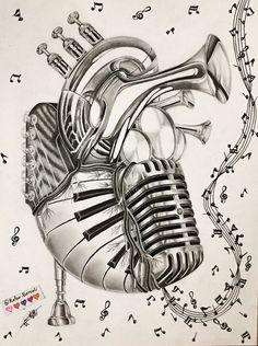Music Drawings, Tattoo Drawings, Art Drawings, Pencil Drawings, Music Tattoo Designs, Music Tattoos, Music Notes Art, Art Music, Music Heart