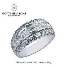 This splendid 14K White Gold Diamond ring is meant to impress.  This sophisticated #diamond ring features sparkling channel set princess cut diamonds with two rows of glittering round shared prong set diamonds. Visit your local #GottliebandSons retailer and ask for style number 28130.  http://www.gottlieb-sons.com/product/detail/28130