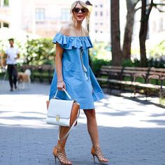 denim-y + ruffle-y   one of my fav dresses for only $53! Full details today on #madlymignon @liketoknow.it www.liketk.it/1CyNp #liketkit