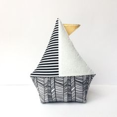 $15.72  Size: approx : 28 x 22cm (11 x 9 inch) . Sailboat pillow Black white nursery Sailboat toy, boat pillow, nautical baby shower, plush boat toy Diapper cake topper Nautical nursery