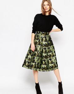ASOS+Full+Midi+Skirt+in+Camouflage+Jacquard