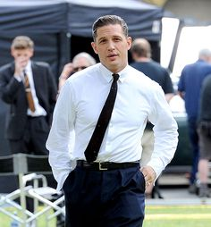Tom Hardy was slicked back and sharp filming Legend — the biopic about the British gangster twins the Krays — in London. Swoon!